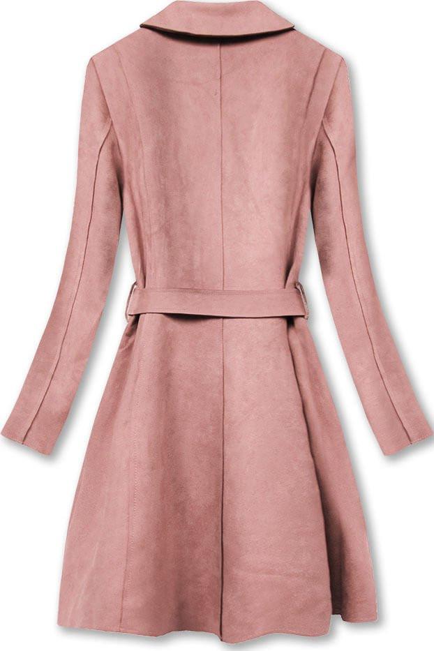 Růžový dámský semišový kabát (6004)