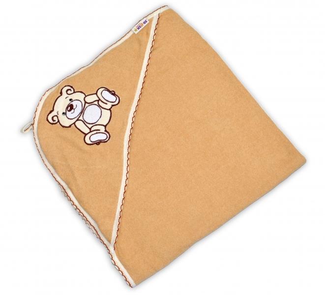 Dětská osuška Teddy Bear s kapucí, roz. 80 x 80 cm - hnědá