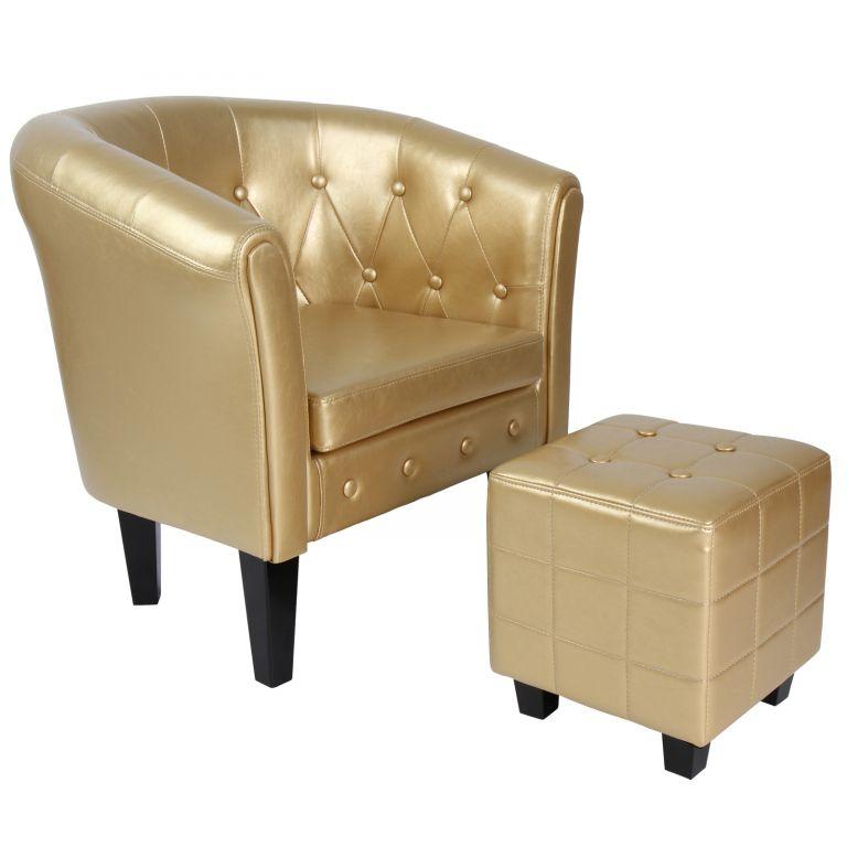 kreslo-s-taburetem-chesterfield-zlate