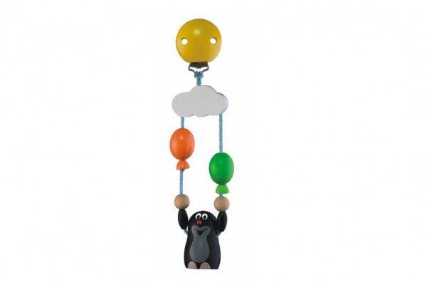 Závěs na kočárek dřevo Krtek s balónky na kartě