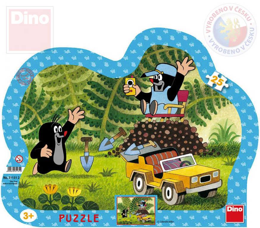 DINO Puzzle obrysové Krtek (Krteček) se žlutým autem 31x23cm skládačka 25 dílků