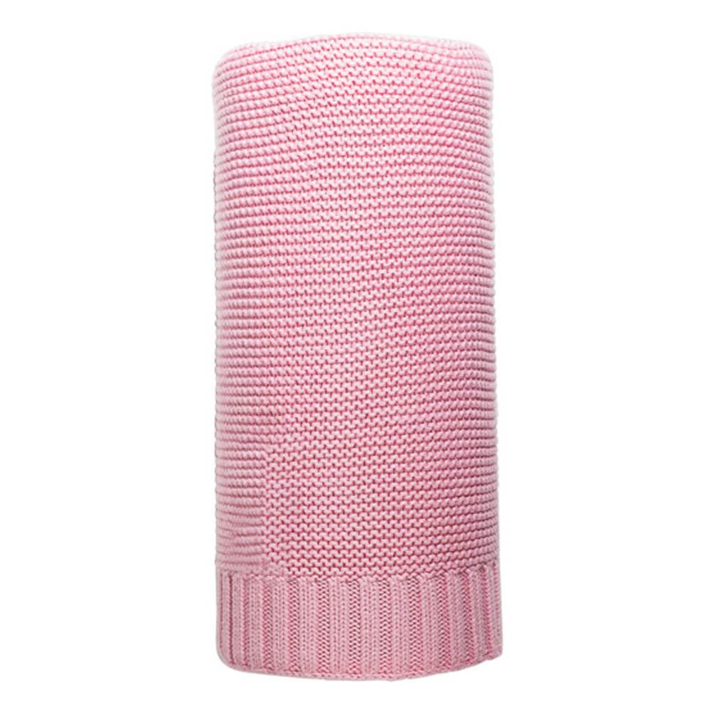 Bambusová pletená deka NEW BABY 100x80 cm - růžová