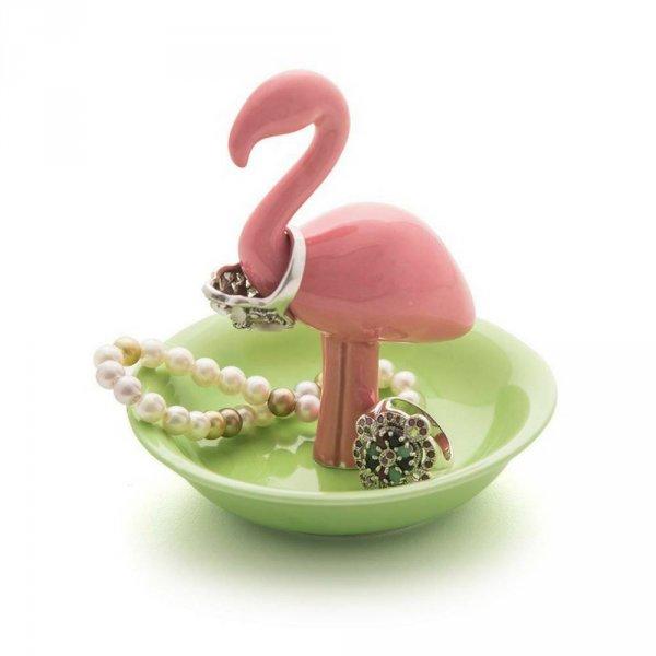 Růžovo-krémová keramická miska na šperky - plameňák