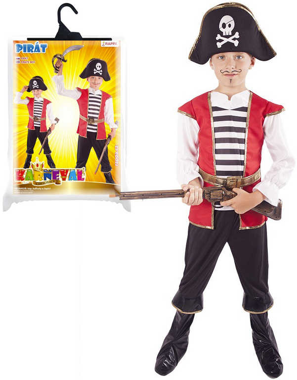 KARNEVAL Šaty Pirát + klobouk vel.M (116-128 cm) 6-8 let KOSTÝM