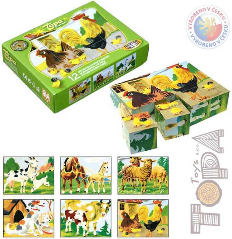 TOPA DŘEVO Kostky (kubus) Domácí zvířátka 12 ks v krabičce *DŘEVĚNÉ HRAČKY*