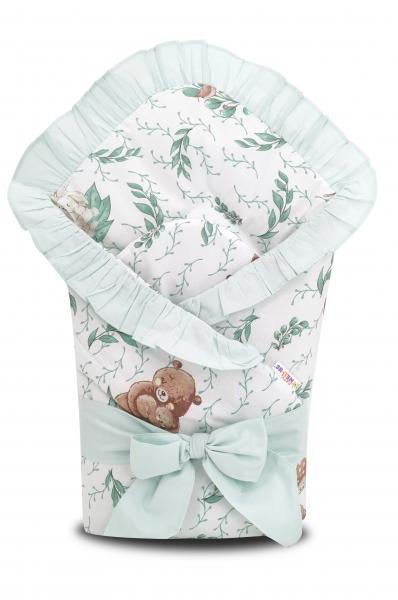 Baby Nellys Rychlozavinovačka 80x80 cm s volán. a stuhou LULU natural, zelená