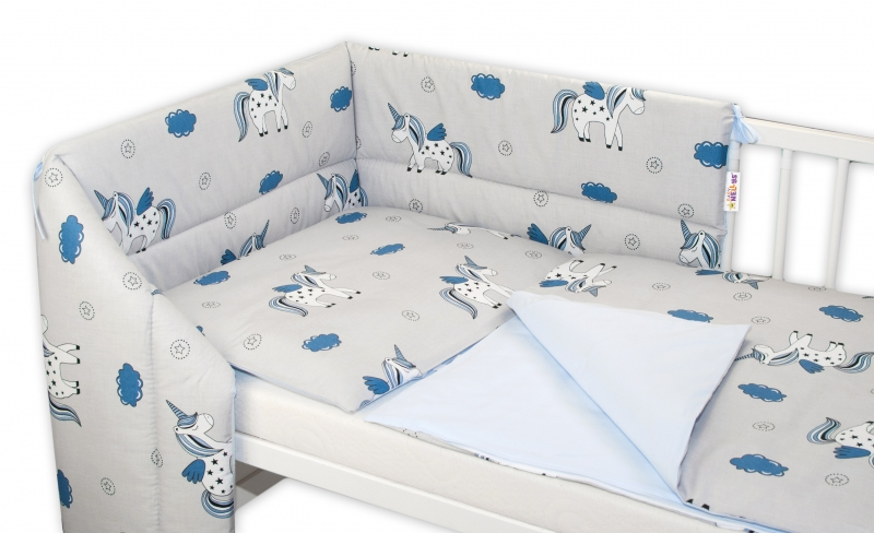 baby-nellys-3-dilna-sada-mantinel-s-povlecenim-jednorozec-seda-modra-120x90