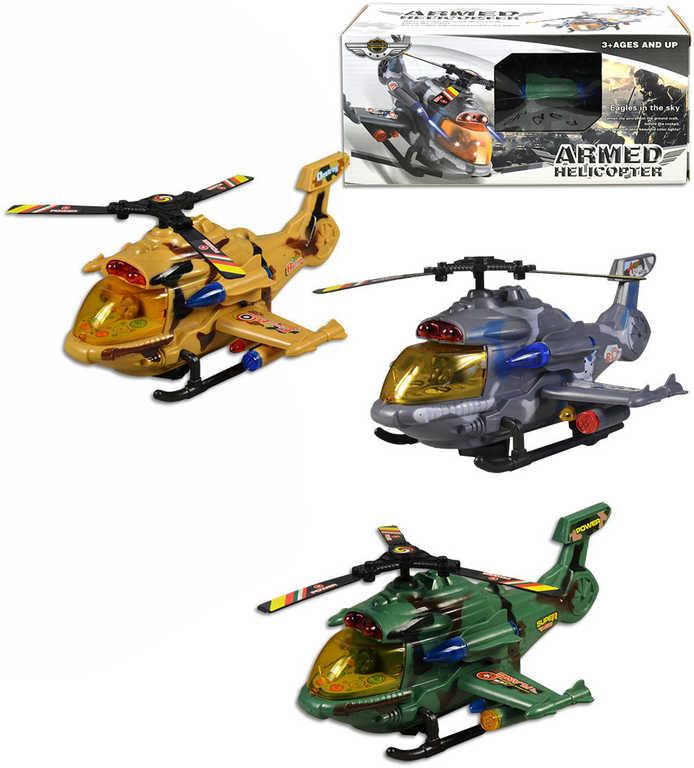Vrtulník vojenský na baterie 26 cm - 3 barvy, v krabici