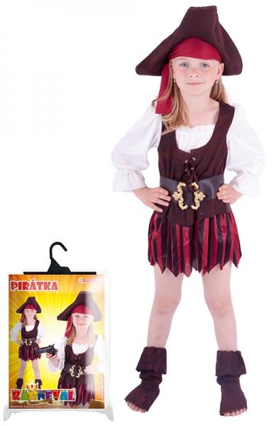 Karnevalový kostým pirátka, klobouk, boty, vel. XS