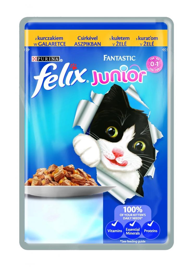 Fantastic Junior s kuřetem v želé kapsička pro kočky 100 g