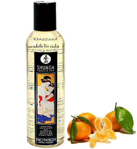 Erotický masážní olej Shunga Excitation Orange 250ml