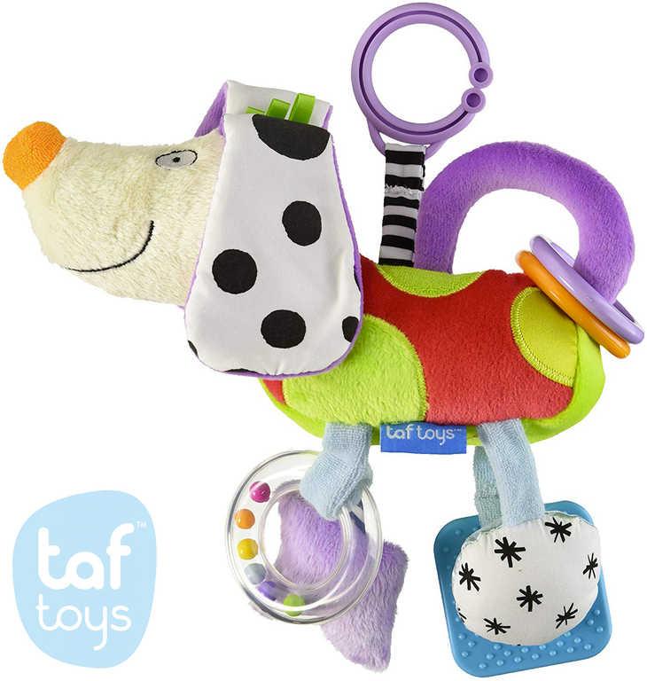 TAF TOYS Baby pejsek ušatý závěsný textilní s aktivitami pro miminko
