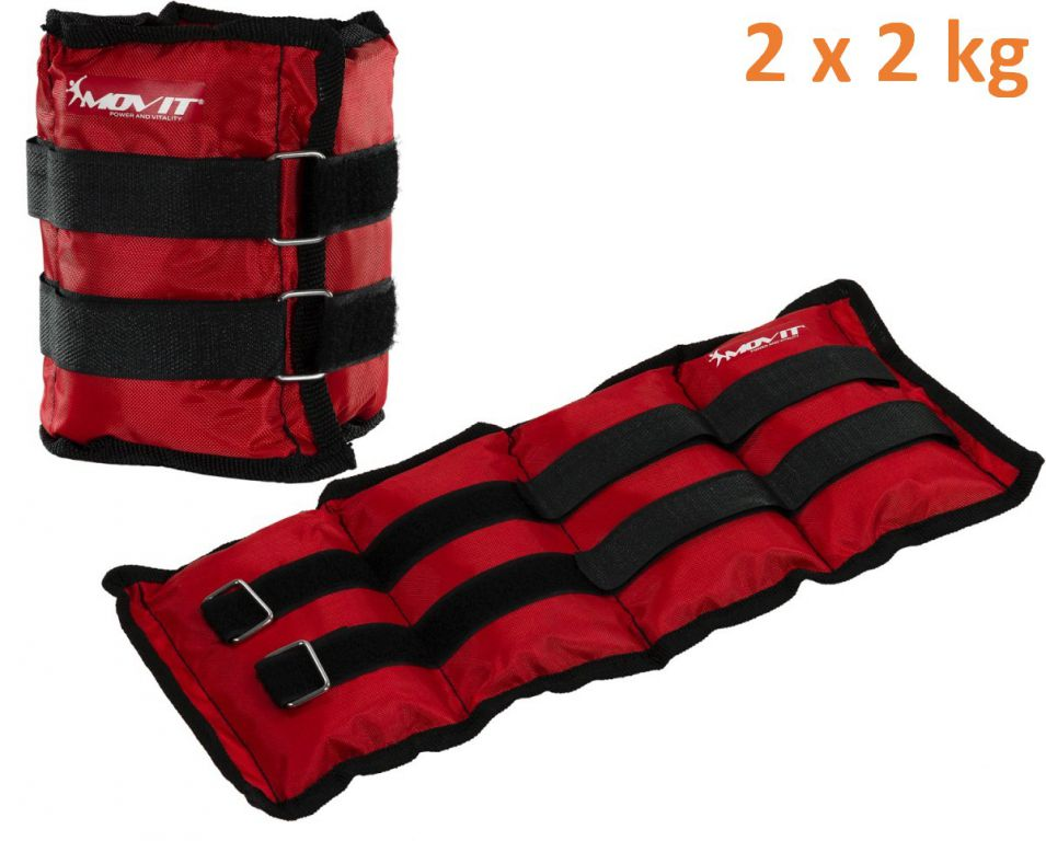 MOVIT zátěžové manžety, 2 x 2,0 kg červená