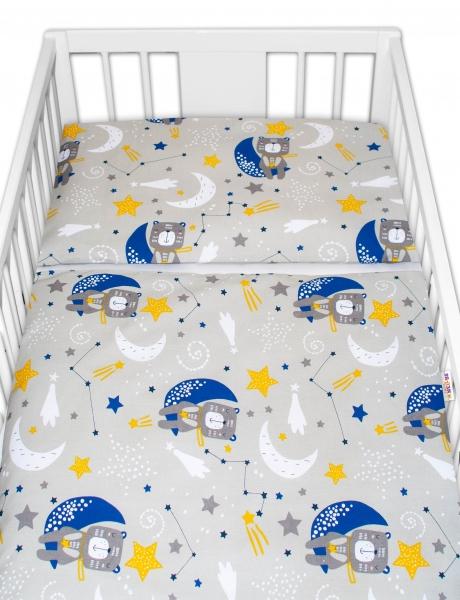 Baby Nellys 2 - dílné bavlněné povlečení - Medvídek a hvězdy, šedé, 135 x 100 - 135x100