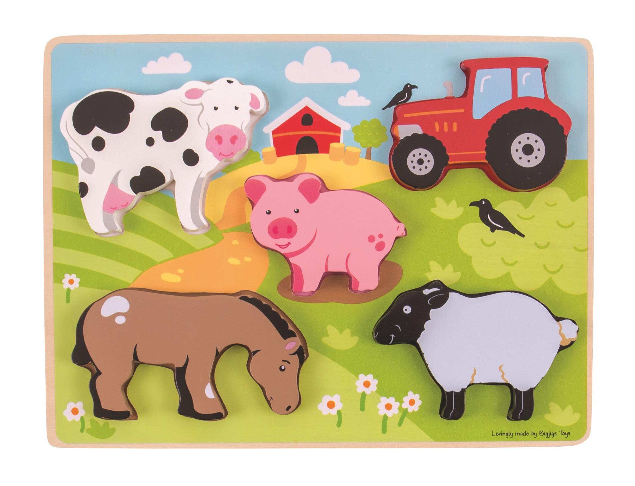 Bigjigs Toys Vkládací puzzle farma