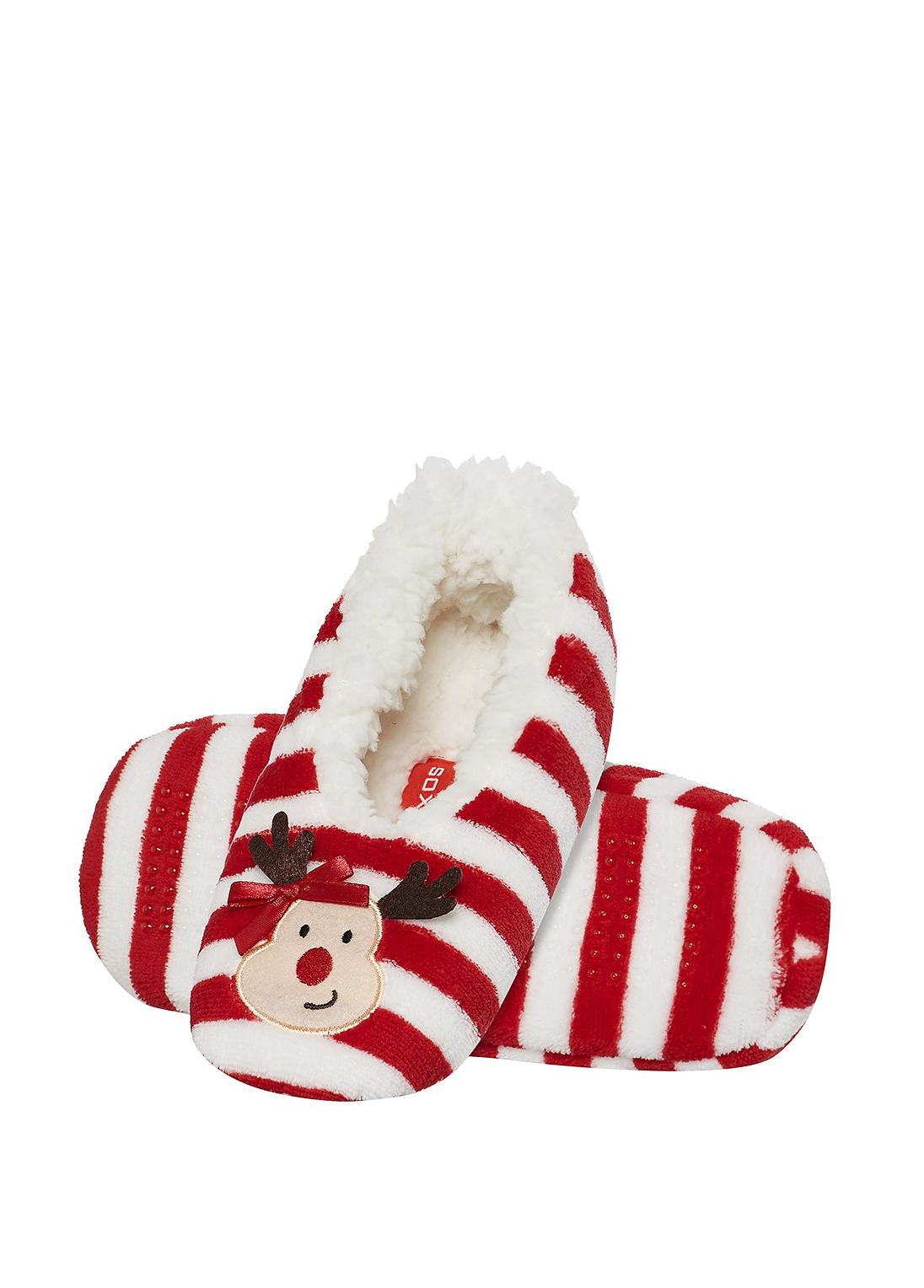 Dásmké papuče vánoční Soxo - Červená/36-37