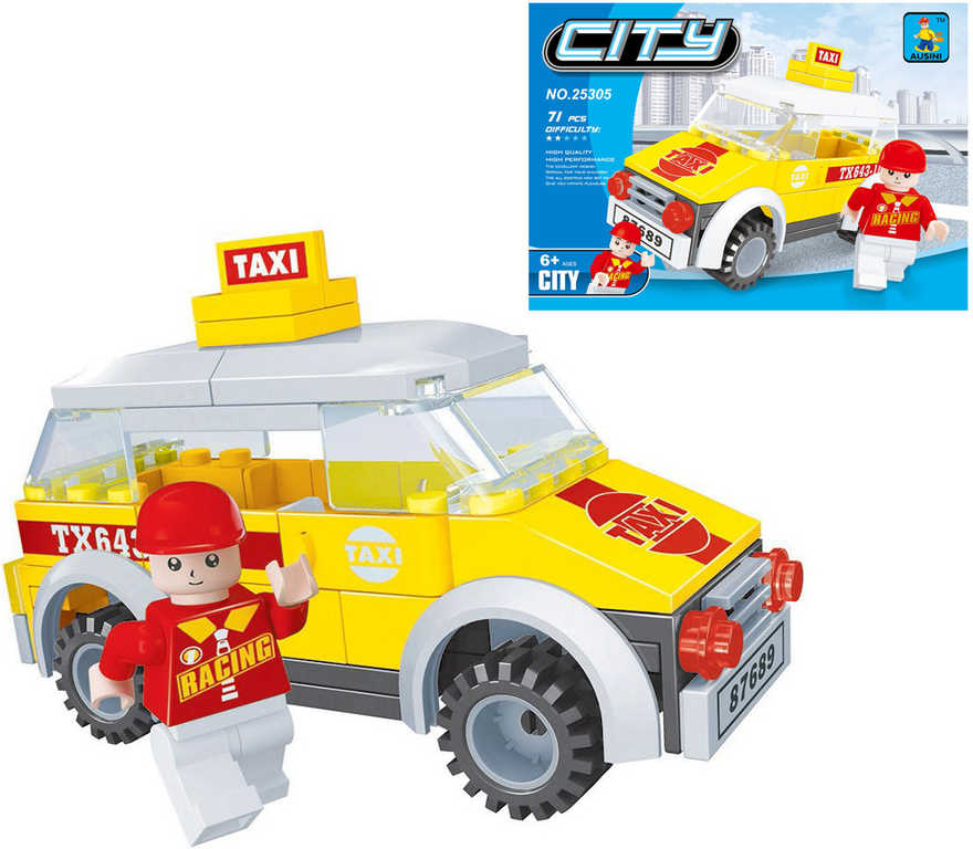 AUSINI Stavebnice MĚSTO taxi sada 71 dílků + 1 figurka řidiče plast