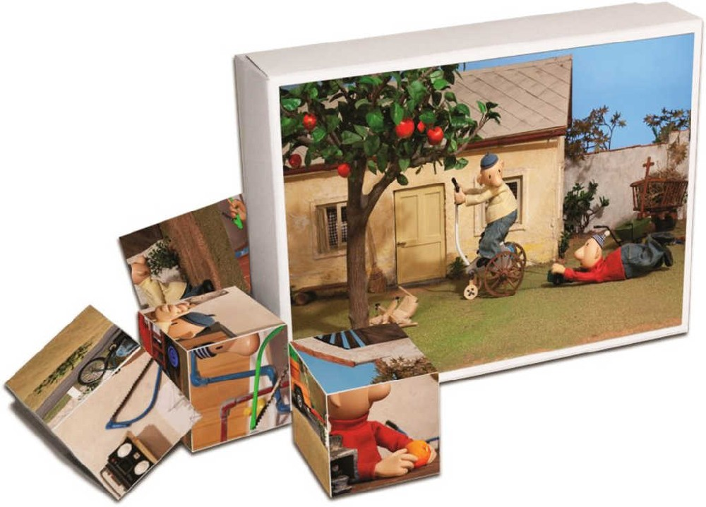 Kostky obrázkové plastové Pat a Mat set 12ks v krabici