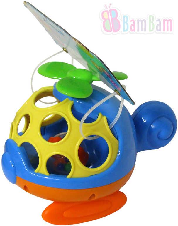 ET BAM BAM Baby Mini helikoptéra 14cm chrastítko koule pro miminko