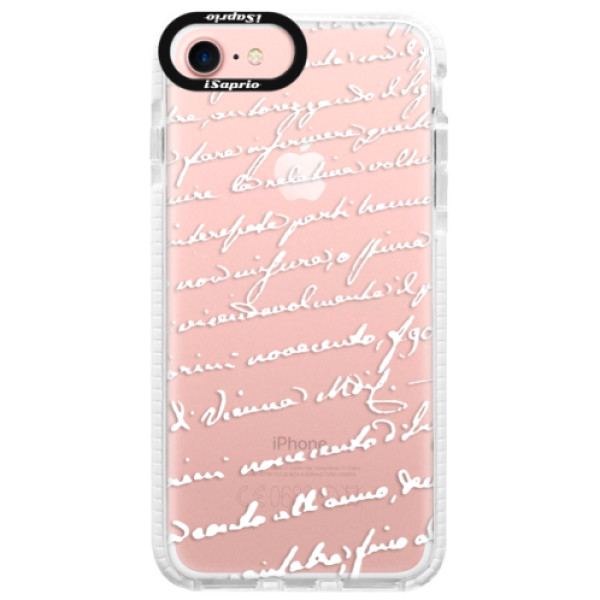 Silikonové pouzdro Bumper iSaprio - Handwriting 01 - white - iPhone 7
