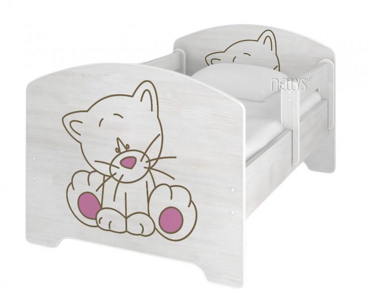 NELLYS Dětská postel Kočička růžová v barvě norské borovice + ŠUPLÍK + matrace zdarma - 140x70
