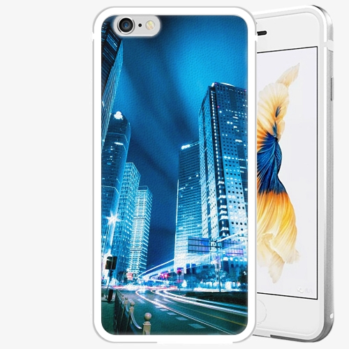 Plastový kryt iSaprio - Night City Blue - iPhone 6 Plus/6S Plus - Silver