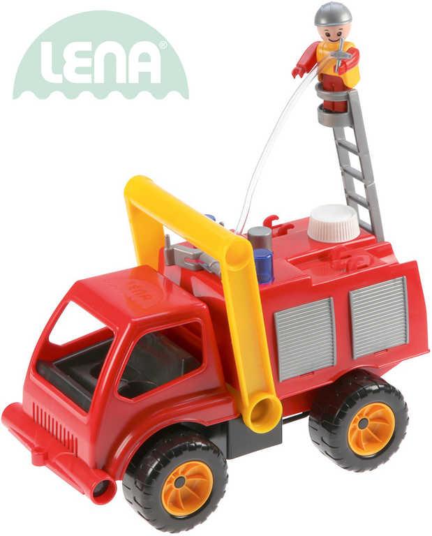 LENA Auto hasičské plastové 29cm aktivní hasiči stříkací vodu set s panáčkem 415