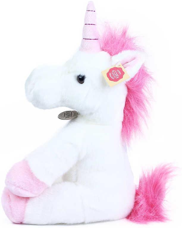 PLYŠ Koník jednorožec 30 cm růžovobílý