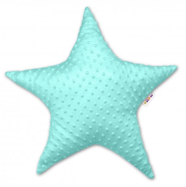 Dětský dekorační polštář Baby Nellys, hvězdička - minky mátová