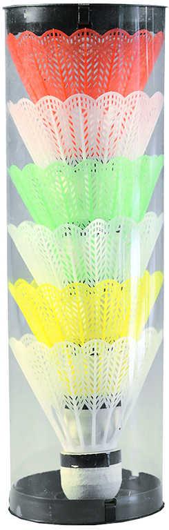 Míček plastový na badminton bílý + barevný košíček set 6ks v tubě