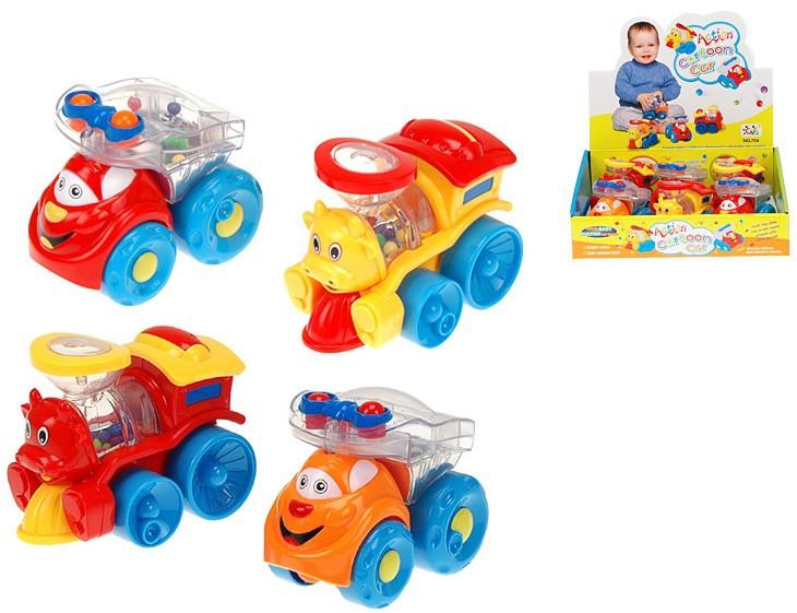 Auto / Mašinka s kuličkami 9,5 cm chrastící baby autíčko 2 barvy pro miminko
