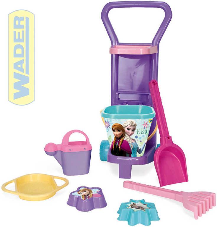WADER Vozík na pláž plastový pískový set 8ks Frozen (Ledové Království) 77970