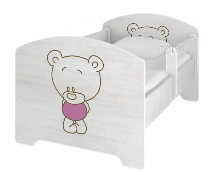 NELLYS Dětská postel BABY BEAR růžový v barvě norské borovice + matrace zdarma - 140x70