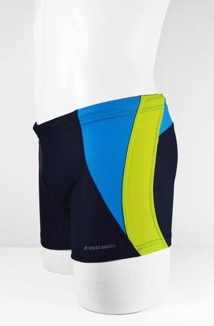 Pánské plavky boxerky BD 378 - SESTO SENSO - Černo-modro-žlutá/XXL