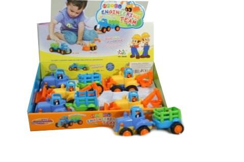 Dětský baby barevný nakladač 2 radlice / traktor s vlečkou plast