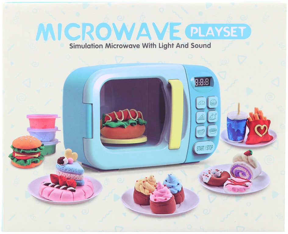 Dětská mikrovlnná trouba 23x15cm set s potravinami na baterie Světlo Zvuk