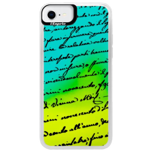 Neonové pouzdro Blue iSaprio - Handwriting 01 - black - iPhone SE 2020