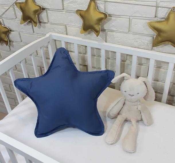Baby Nellys Dekorační oboustranný polštářek - Hvězdička, 45 cm - tmavě modrý