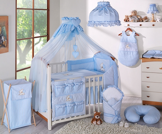 Luxusní mega set s moskytiérou - LOVE modrý - 135x100