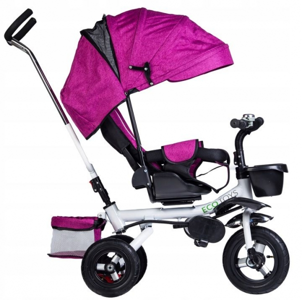 Eco toys Dětská tříkolka Lux s vodící tyči - růžová
