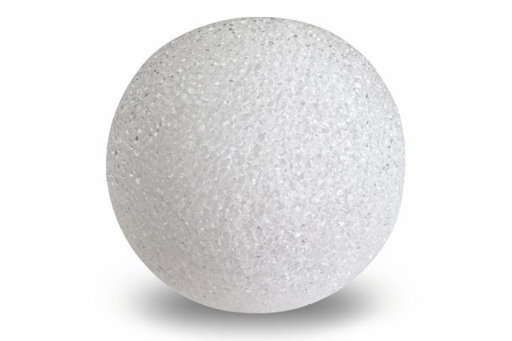 Světelná dekorace - LED svítící koule - 12 cm teple bílá
