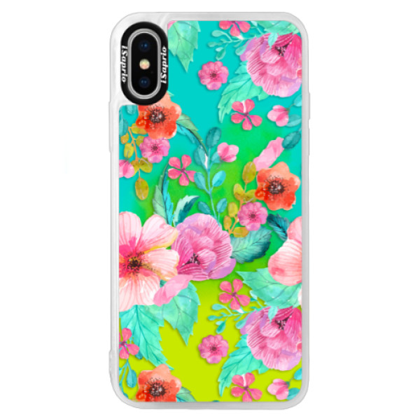 Neonové pouzdro Blue iSaprio - Flower Pattern 01 - iPhone X