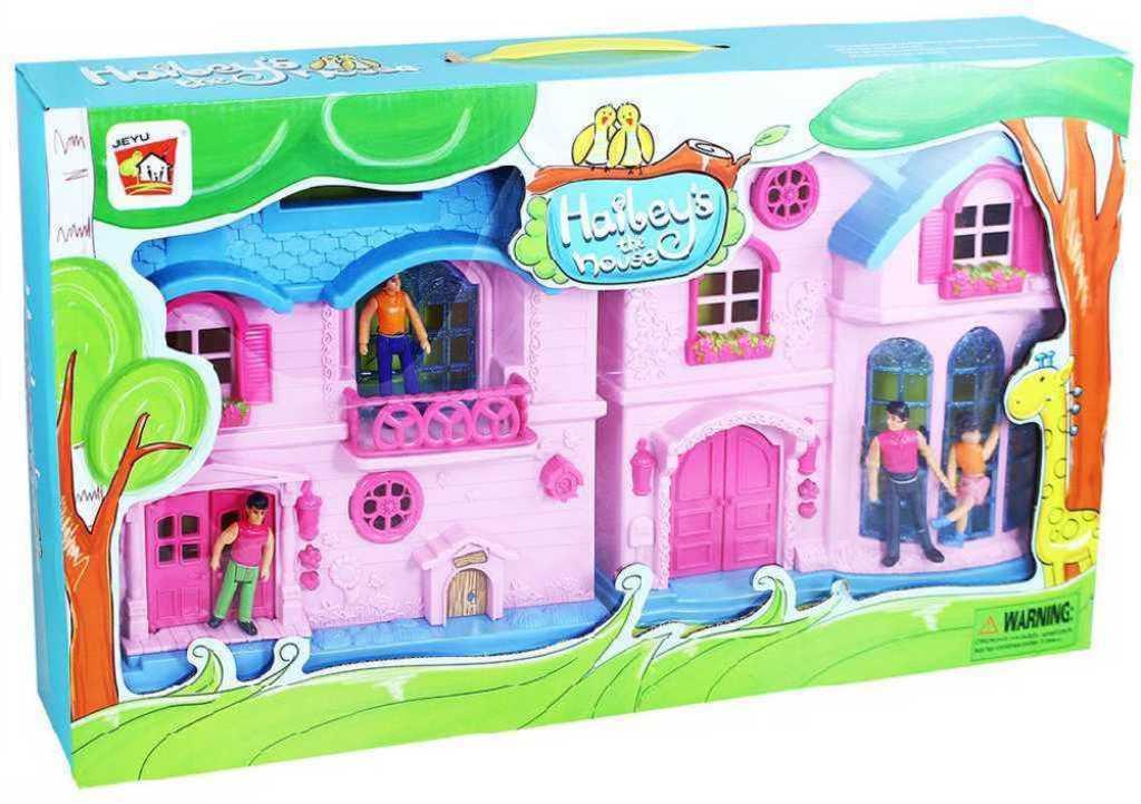 Domeček pro panenky dvoudílný plastový holčičí set se 4 figurkami v krabici