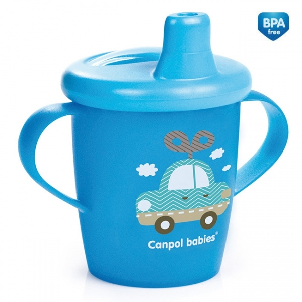 Nevylévací hrníček Canpol Babies Anywayup TOYS - modrý, 250 ml