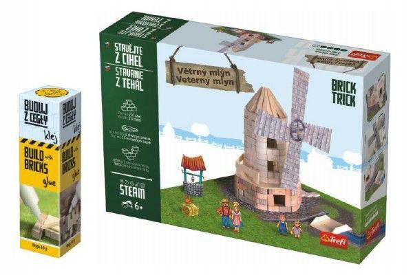 Pack Stavějte z cihel Větrný mlýn stavebnice Brick Trick + lepidlo grátis v krabici 35x25x