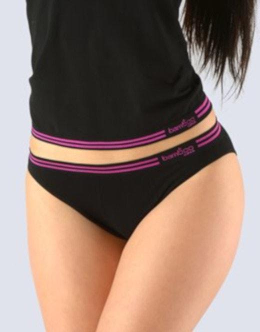 GINA dámské kalhotky klasické s úzkým bokem, bezešvé Bamboo 00025P - černá višňová