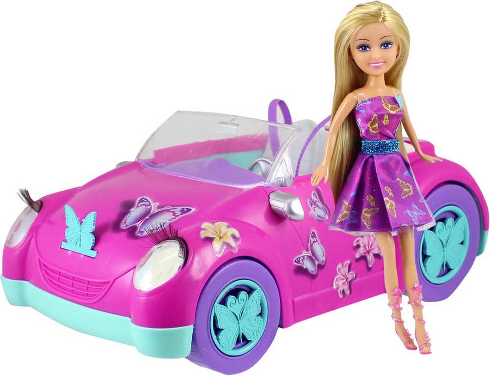 Panenka motýlí stylová Sparkle Girlz set s růžovým autem s motýlky plast