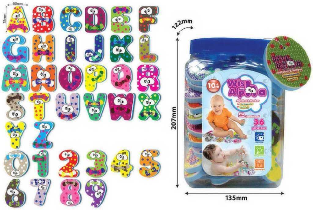 Dětská abeceda pěnové číslice a písmenka set 36 ks do vody