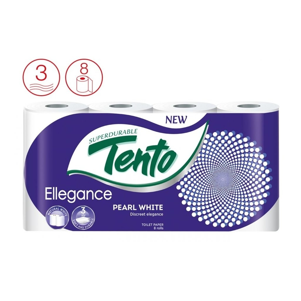 Ellegance Pearl white, 3-vrstvý toaletní papír, 8 ks