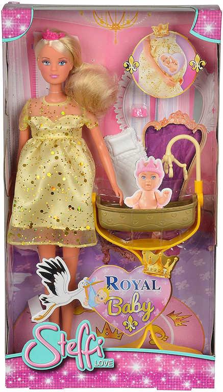 SIMBA Panenka Steffi těhotná princezna 29cm set s kolébkou a miminkem